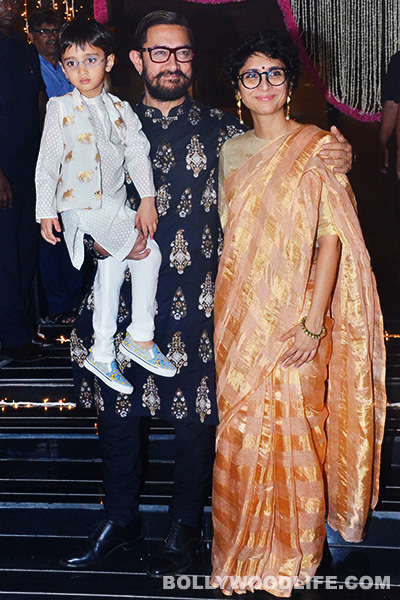 Aamir Khan's youngest son Azad was also seen posing for the cameras with his parents