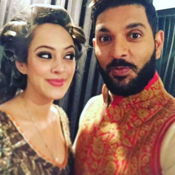 An adorable click of Yuvraj Singh and Hazel Keech from their pre-wedding functions