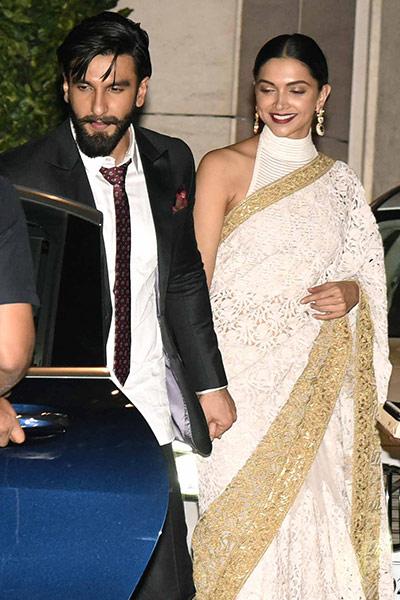 Deepika Padukone and Ranveer Singh walk hand in hand at the Ambani bash