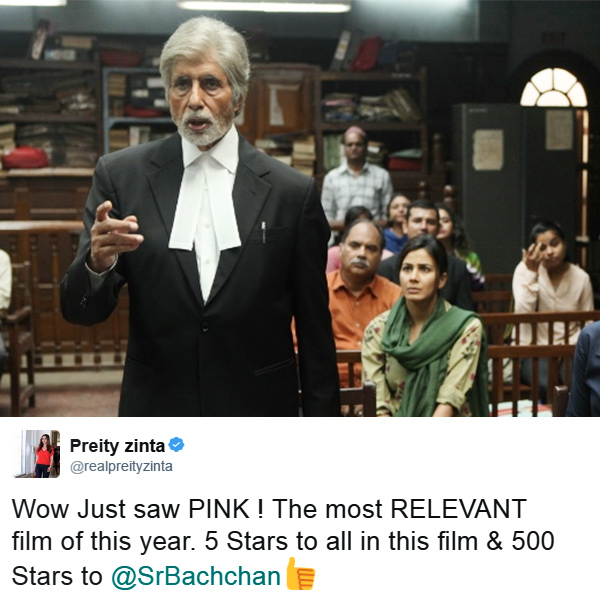 Preity Zinta calls Amitabh Bachchan's PINK the most relevant movie of the year
