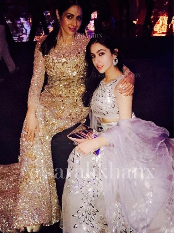 Sara Ali Khan with Sridevi at wedding reception